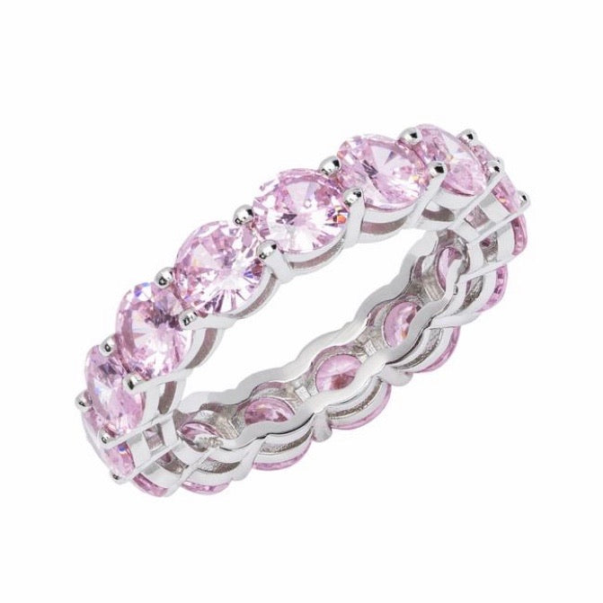'Gemma' Round Cut Eternity Ring - Pink