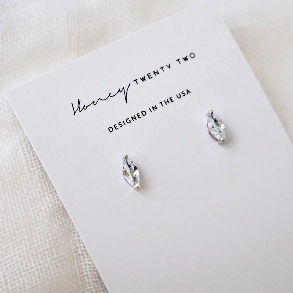 'Zandra' Marquise Crystal Stud Earrings