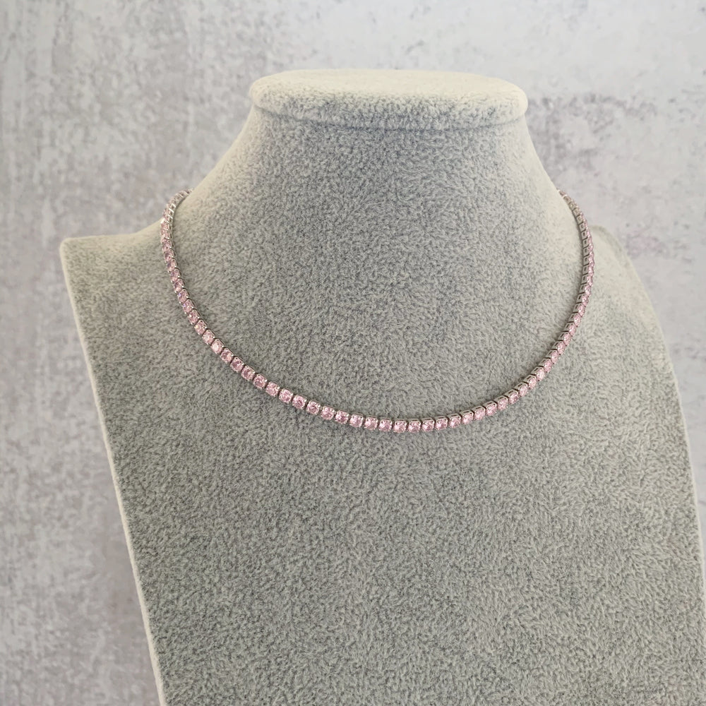 'Helen' Pink Crystal Tennis Necklace