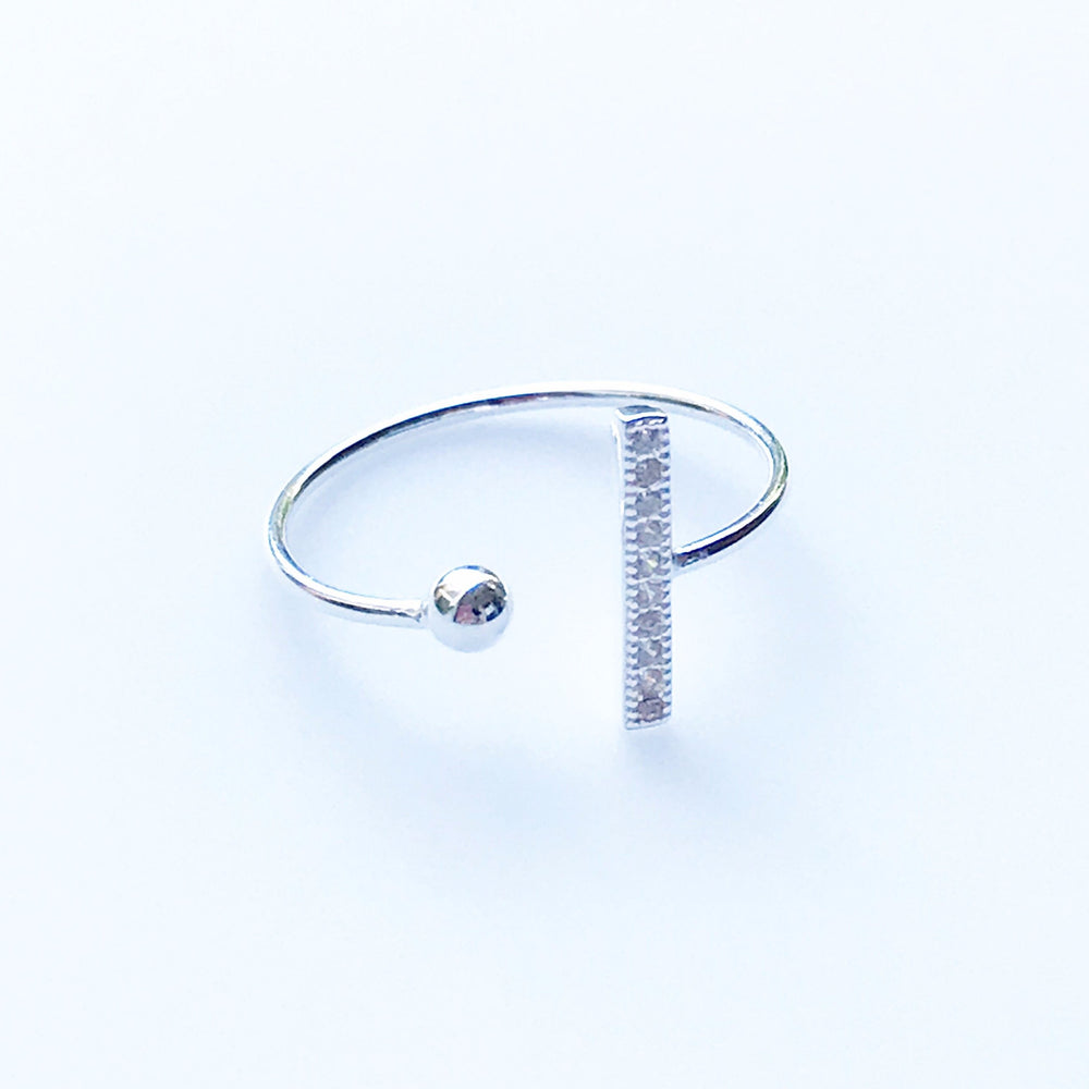 'Rive' Crystal Bar Open Ring - Honey Twenty Two