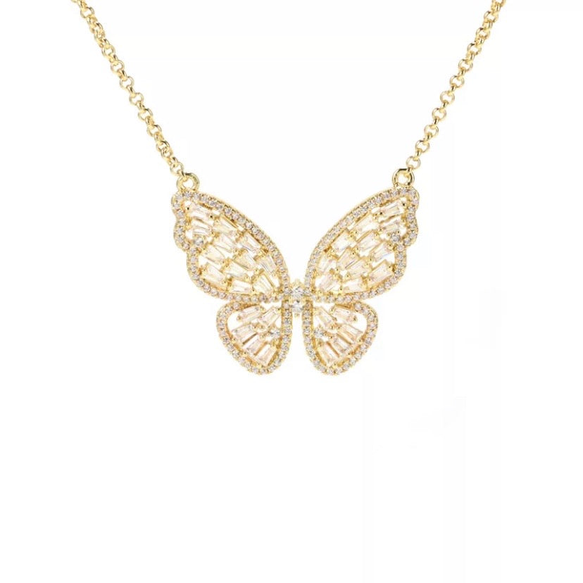 'Ayanna' Crystal Butterfly Necklace - Gold