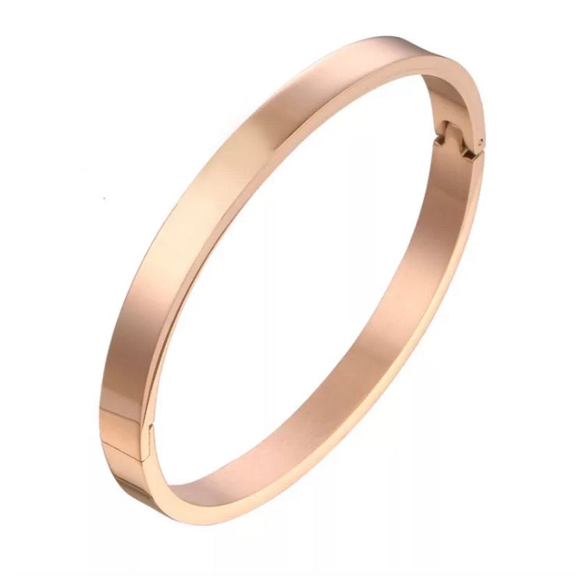 'Amelie' Classic Smooth Bangle - Rose Gold