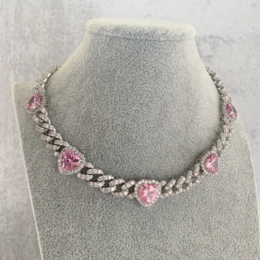 'Bette' Pink Heart Cuban Link Necklace