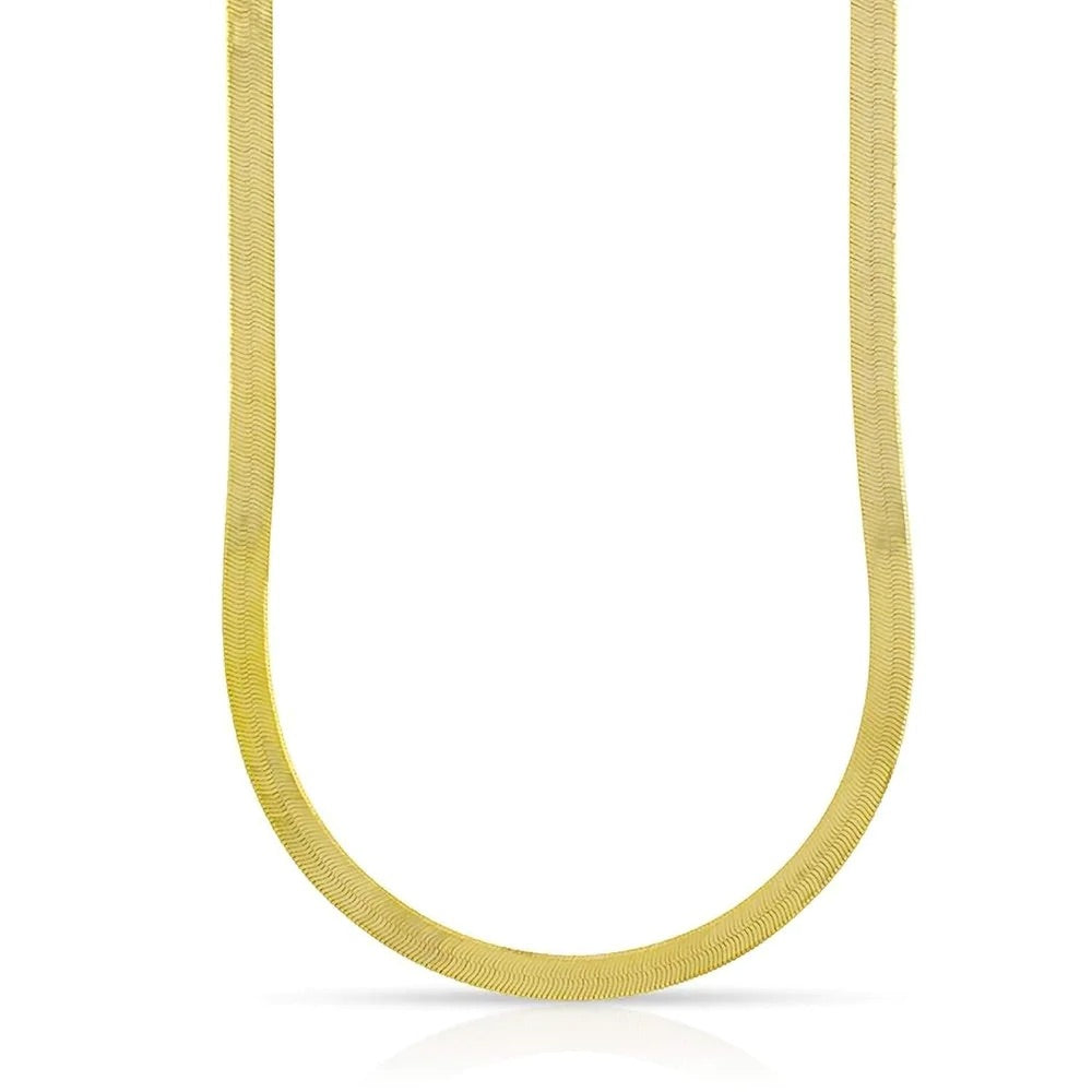 'Harlow' Herringbone Chain Necklace - Gold