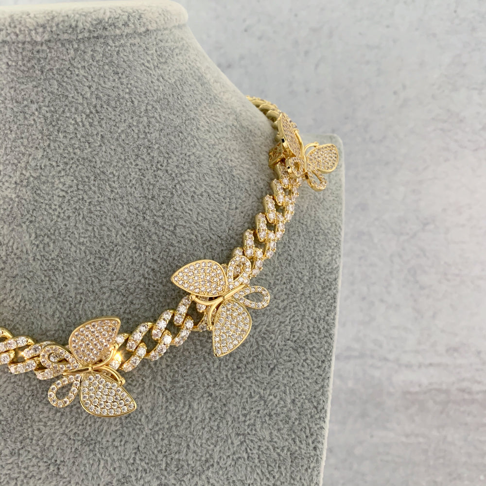 'Vivienne' Butterfly Cuban Link Necklace - Gold