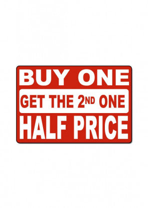 Buy One Get The 2nd Half Off Sign
