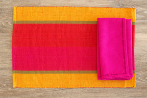 Mirissa Chilie Stripe Placemats - Set of 2