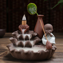 Load image into Gallery viewer, HOUSEEYOU Lotus Pond Little Monk Backflow Incense Burner Stick Holder Stand Base Hand Crafts Waterfall Censer Indoor Spices