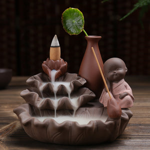HOUSEEYOU Lotus Pond Little Monk Backflow Incense Burner Stick Holder Stand Base Hand Crafts Waterfall Censer Indoor Spices