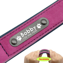 Load image into Gallery viewer, Name ID Tags Personalized Dog Collars Leather Dog Collar