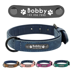 Name ID Tags Personalized Dog Collars Leather Dog Collar