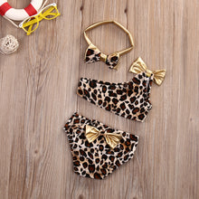 Load image into Gallery viewer, Girls bathing Suits Leopard Off-shoulder Bow Bikini Set Swimwear