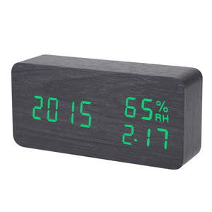 Wooden Digital Alarm Clock with Temperature Display