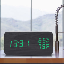 Load image into Gallery viewer, Wooden Digital Alarm Clock with Temperature Display