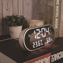 Load image into Gallery viewer, LED Digital Alarm Clock With Temperature Reveil Watch USB Electronic Table Clocks Oval Mirror Desk Clock Despertador