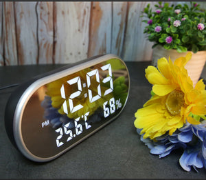 LED Digital Alarm Clock With Temperature Reveil Watch USB Electronic Table Clocks Oval Mirror Desk Clock Despertador