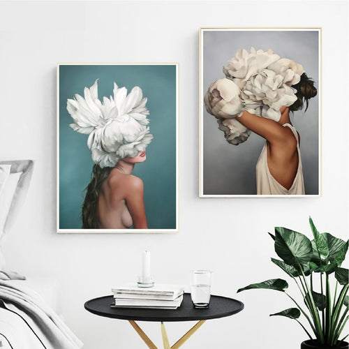 Flowers Feather Women Modern Canvas Art