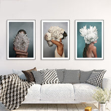 Load image into Gallery viewer, Flowers Feather Women Modern Canvas Art