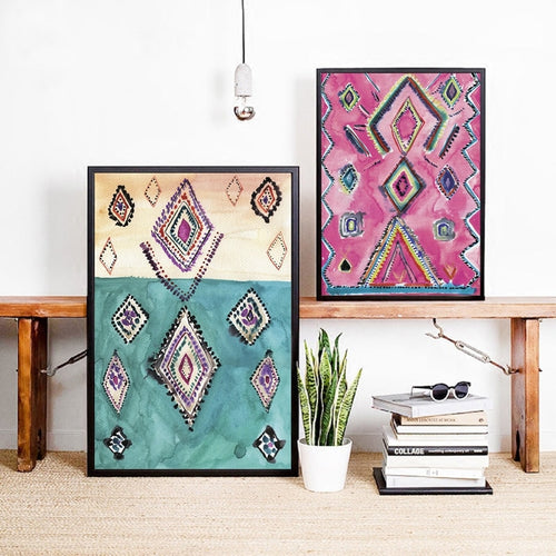 Moroccan Rug Art Prints Boho Canvas Painting