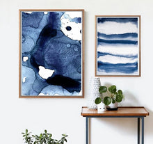 Load image into Gallery viewer, Navy Blue Watercolor Canvas Painting