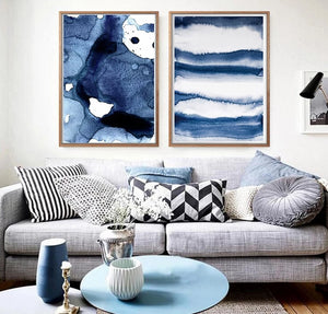 Navy Blue Watercolor Canvas Painting