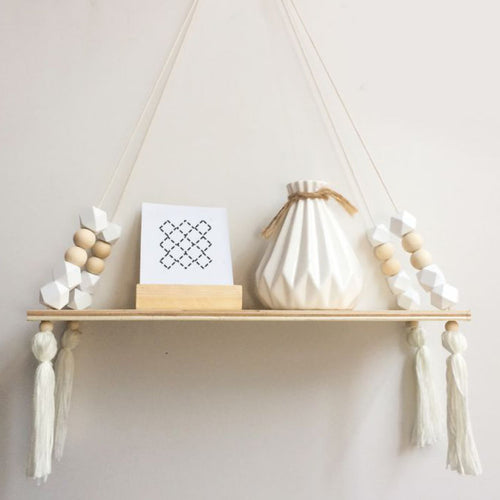 Little Wooden Beads Storage Hanging Shelves