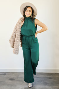 Holiday Glam Jumpsuit In Emerald
