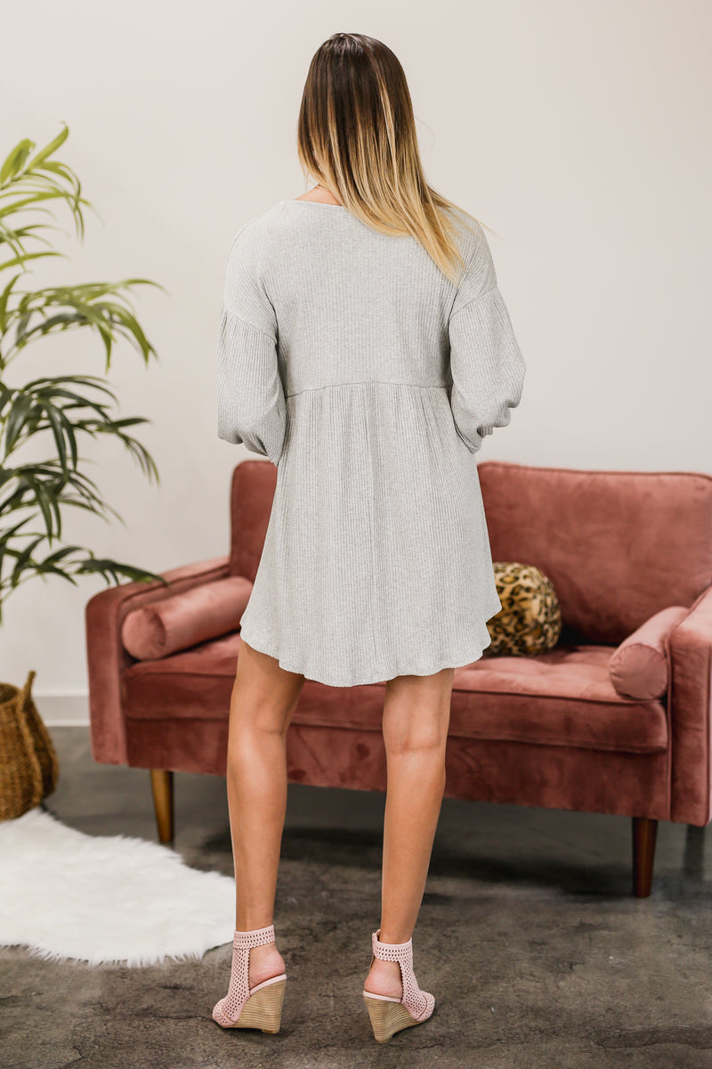 Happy Hour Ribbed Shift Dress In Grey
