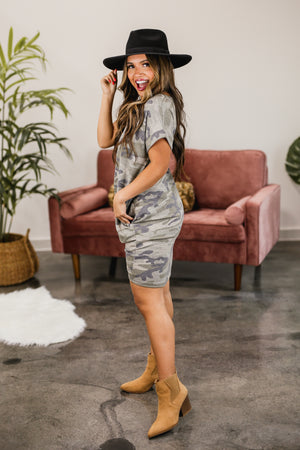 Basic Perfection Camo Tee Dress