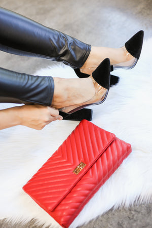 Touch Of Class Quilted Crossbody Clutch In Red