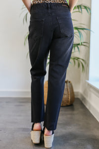 The Marlo High Waist Ankle Jeans in Black