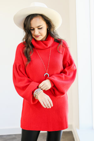 Home Bound Knit Sweater In Red