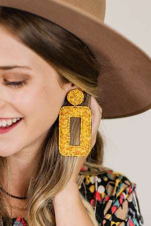 Concert Dreamin' Earrings In Mustard