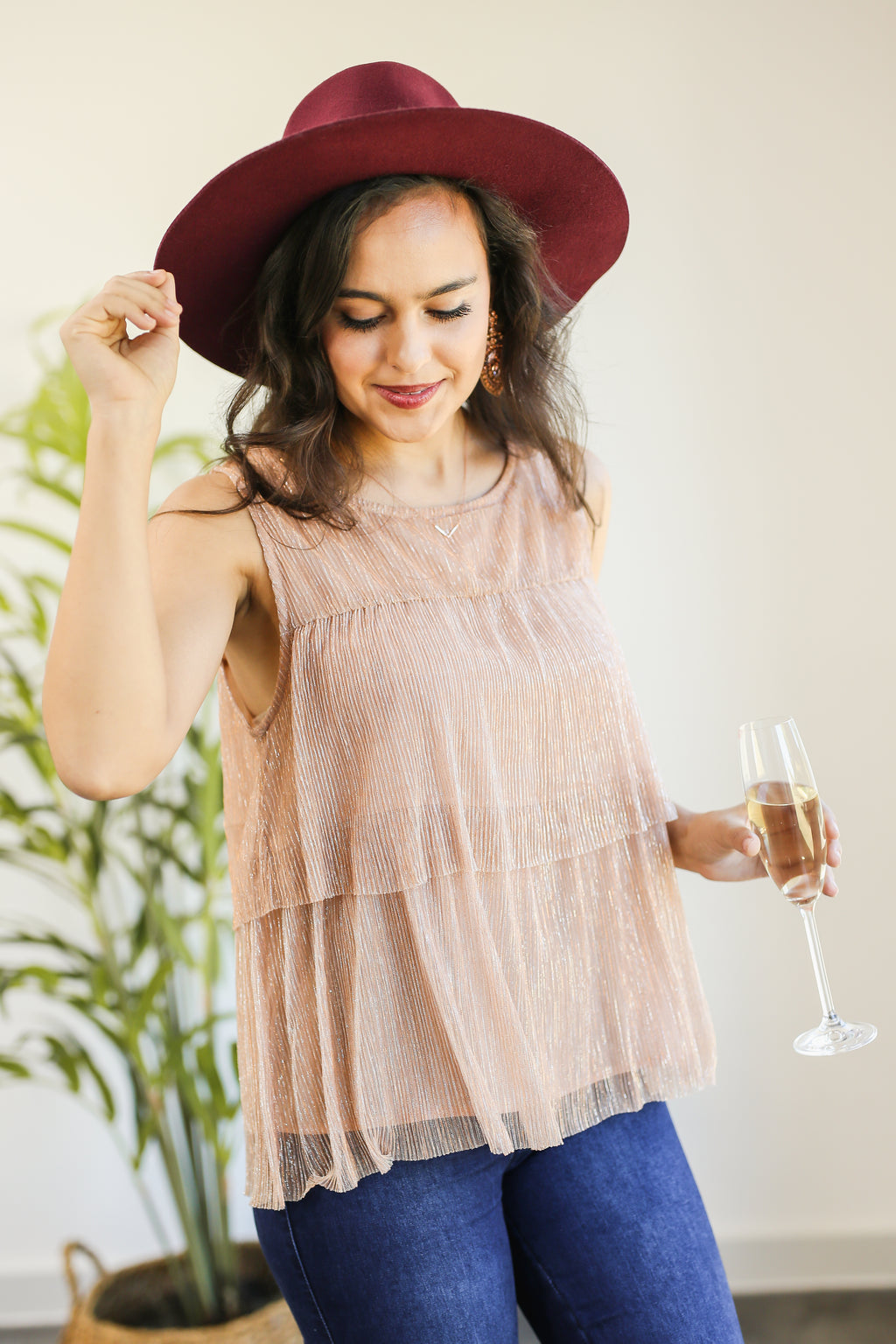 Wine Club Glam Top In Rose Gold