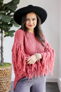 Fall Friendships Knit Fringe Sweater In Mauve
