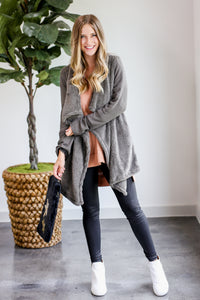 Lucky Charmer Fuzzy Cardigan In Charcoal