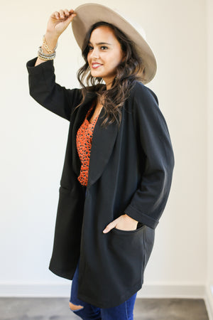 Style Queen Tunic Blazer In Black