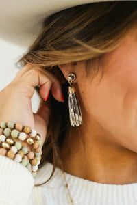 Subtle Shine Snake Tassel Earrings