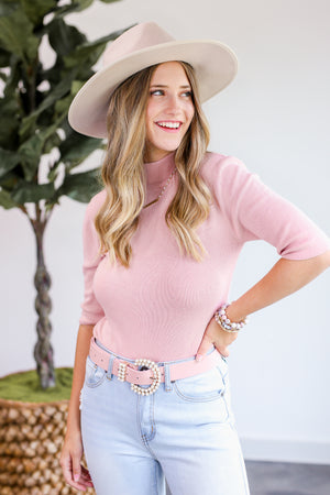 Blushing Beauty Sweater In Misty Rose