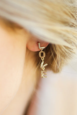 LOVE Dangle Earrings In Gold
