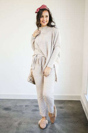 Road Trip Bound Waffle Knit Sweater In Latte