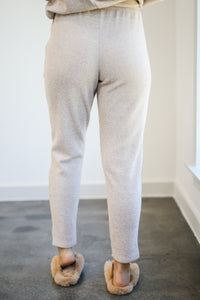 Road Trip Bound Waffle Knit Joggers In Latte