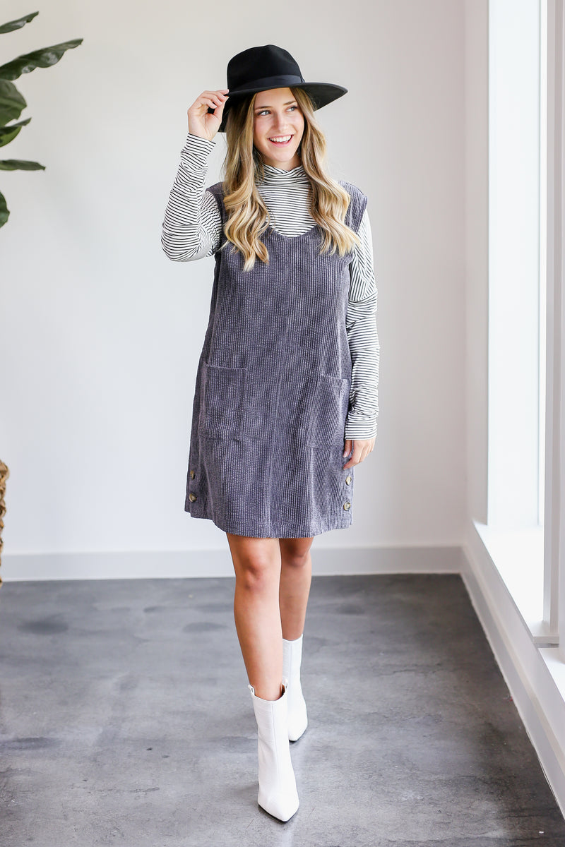 Date Night Dress In Charcoal