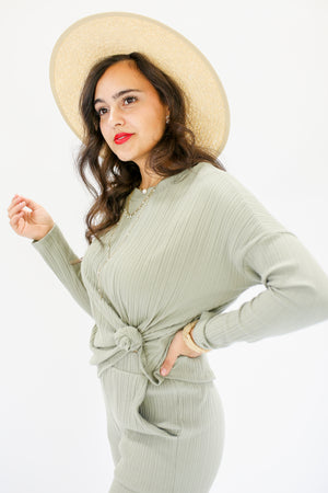 Social Club Ribbed Top In Desert Sage