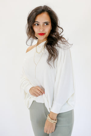 Glory Days Ribbed Dolman Top In White