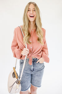 Spring Break Glam Top In Salmon