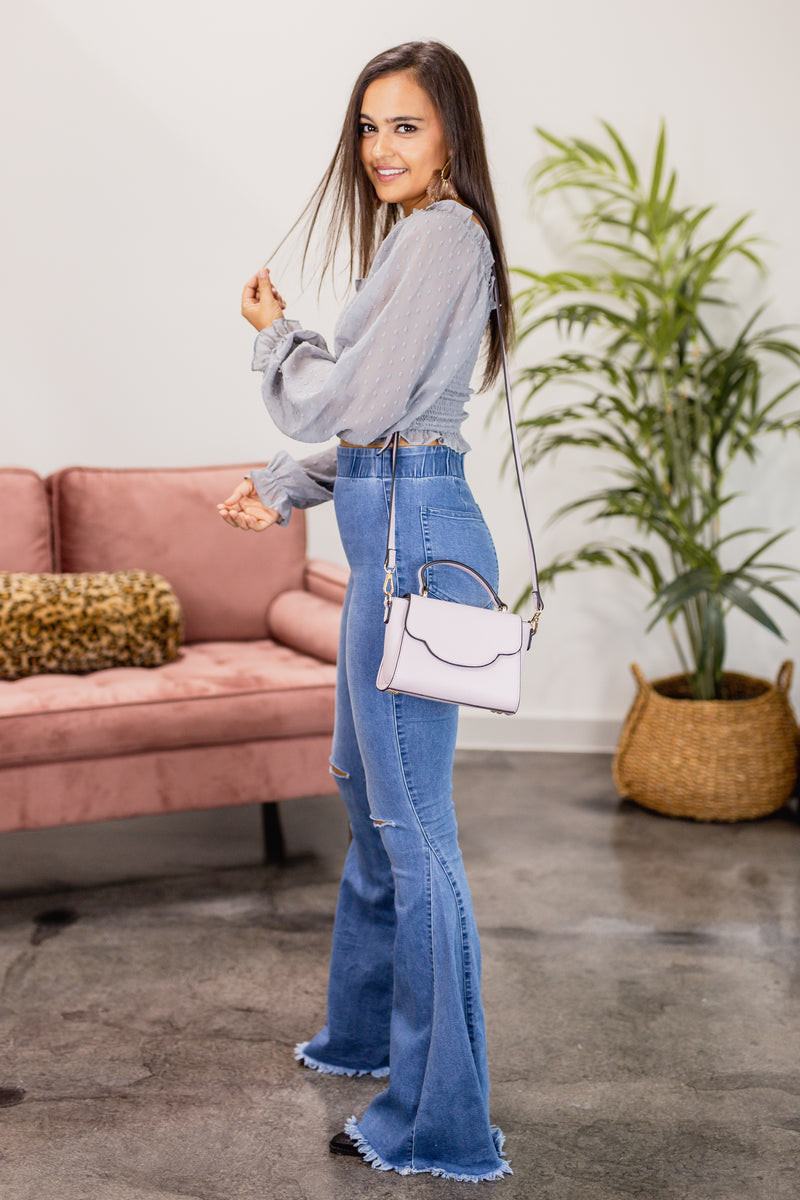 The Logan High Waist Flares In Light Wash