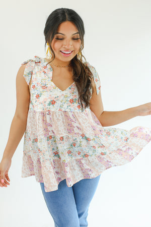 August Dreams Ruffle Tank In Ruby