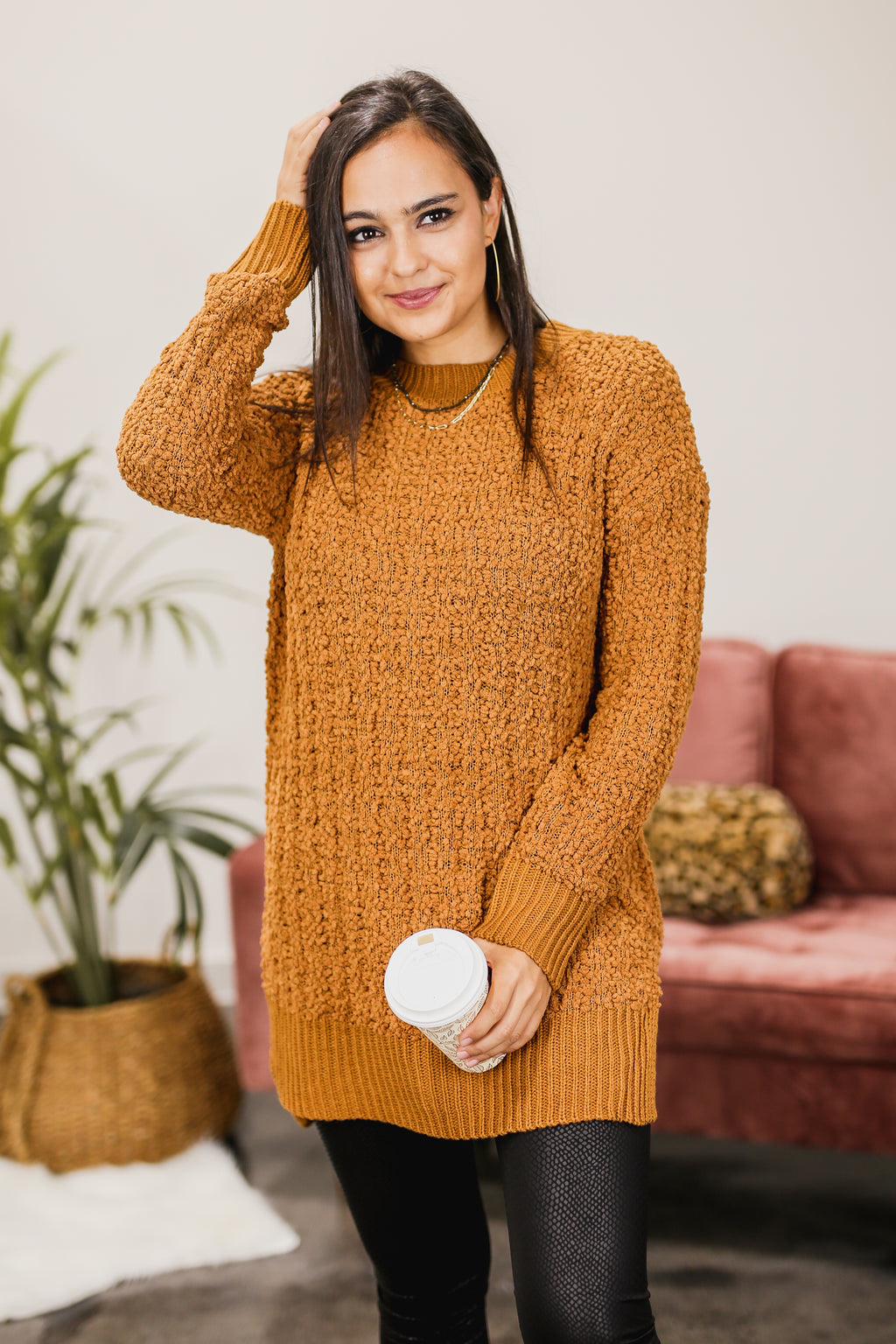 Cozy Competition Popcorn Sweater In Coffee