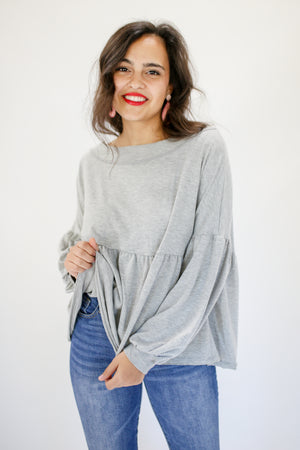 Major Glam Babydoll Top In Grey